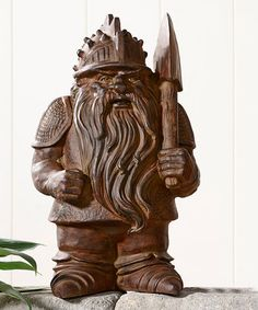 Double Axe Viking Cement Gnome Statue