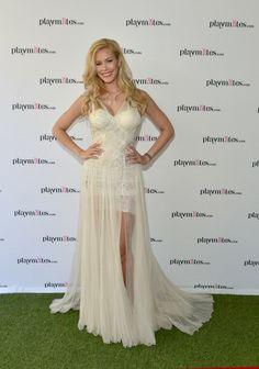Playmate Of The Year Kennedy Summers attends Playboy's 2014 Playmate Of The Year Announcement and Reception at The Playboy Mansion on May 2014 in Holmby Hills, California,Kennedy Summers White dress- ZHANG JINGJING Couture 2014 S/S Prom Dresses, Formal Dresses, Playboy, Reception, White Dress, Couture, Celebrities, Mansion, Announcement