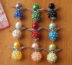 Set of 9 shambala style handmade Angel (Fairy) charms. Made using acrylic pearl and resin beads. Wire Crafts, Bead Crafts, Jewelry Crafts, Handmade Jewelry, Beaded Christmas Ornaments, Christmas Earrings, Christmas Jewelry, Beaded Angels, Handmade Angels