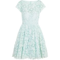 Rental ML Monique Lhuillier Kyoto Bloom Dress (295 PEN) ❤ liked on Polyvore featuring dresses, blue, lace cap sleeve dress, blue green dress, crew neck dress, lacy dress and lace dress
