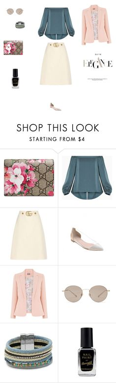 """""""Untitled #3987"""" by smaranda-panfil ❤ liked on Polyvore featuring Gucci, BCBGMAXAZRIA, Gianvito Rossi, Cara and Barry M"""