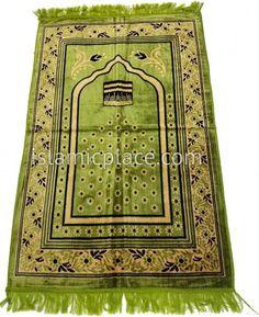 Pea Green Prayer Rug with Kaba (Soft Velvet)