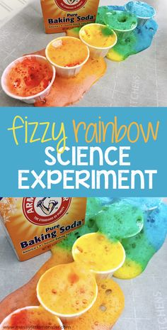 Baking soda and vinegar rainbow science experiment for kids. Toddlers and preschoolers will love this baking soda science experiment and it makes a fun rainbow activity for kids. # color experiments for kids Rainbow baking soda science experiment for kids