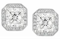 These exceptional halo princess cut diamond earrings feature a glittering display of fiery full cut, princess & round cut diamonds. These diamonds have a total combined weight of 1.36 carats. The diamonds range in clarity from VS1-VS2 with a color grade ranging from G to H. The halo design will make the earrings look much bigger than what they are!