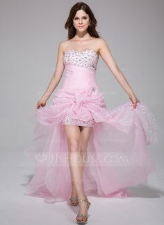 Prom Dresses - $162.99 - A-Line/Princess Sweetheart Asymmetrical Organza Charmeuse Prom Dress With Ruffle Beading Flower(s) (018025506) http://jjshouse.com/A-Line-Princess-Sweetheart-Asymmetrical-Organza-Charmeuse-Prom-Dress-With-Ruffle-Beading-Flower-S-018025506-g25506