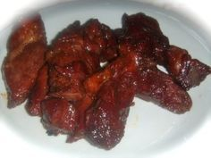 oven grilled bbq boneless beef ribs recipe... So good!!!!! and they melt in your mouth!!! Listen to the recipe and tenderize your meat it makes a great deal of a difference!