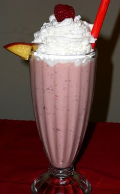 Creamy Peach Melba (Raspberry peach) Milk Shake
