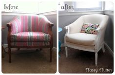 Recover a 10 dollar thrift store chair. This sight also has a tutorial on how to redo a sofa. I don't particularly like the fabrics but the redo is great!