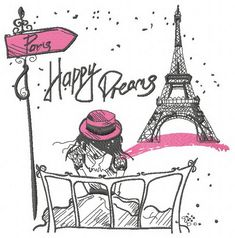 Paris Happy dreams machine embroidery design      . Machine embroidery design. www.embroideres.com