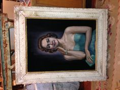 """via @Julia Buckingham Edelmann  a story about her. """"Millicent"""" uncovered in VIrginia sauntered into a cocktail party and realized that another woman was wearing the same dress..""""who cares, I am wearing it better!"""" Who knows- it might even have really happened in 1960 when this beauty was painted onto its black velvet canvas. Black velvet canvas IS true ;) She is hanging out at #HPAntiques + Design Center Booth M52 w/Chalahc Designs #hpmkt @hpmarketnews #mo... High Point Market, Going On Holiday, Black Velvet, Vintage Furniture, Hanging Out, Diy Design, Shit Happens, Portrait, Canvas"""