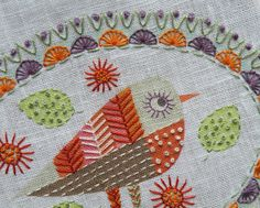 Birdie 3 Embroidery kit Detail  --  Interesting concept. Print out the fabric with colors and some of the embroidery lines printed on and you go from there! So amazing what we can do with technology. The lady at this site sells kits for making these designs so you don't have to collect all the parts yourself.