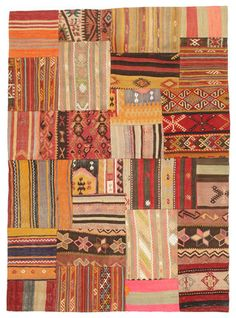Kilim Patchworks are produced of older Persian kilims. These have been cut in smaller pieces and sewn together in new designs and sizes.