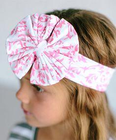 Pink& White Floral Bow Headband #zulily #zulilyfinds