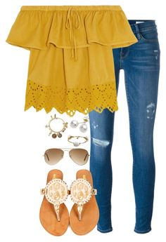 sunflower by keileeen on Polyvore featuring polyvore fashion style Madewell Frame Mikimoto Bourbon and Boweties Lilly Pulitzer Alex and Ani Ray-Ban clothing
