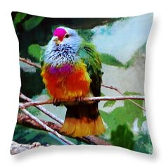 Throw Pillow - Rain Forrest Bird 1 Throw Pillow by Mas Art Studio. Rain Forest Bird 1 Weekender Tote Bag By Martha Ann Sanchez of MAS Art Studio, #Throw Pillow #MasArtStudio #MarthaAnnSanchez #Birds #Nature #Wildlife #Aqua #Contemprary #Orange #Red #Green #Mixed Media