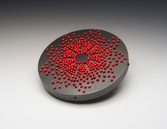 Julia Turner. Brooch: Three Days Walking, 2013. Steel pins, vitreous enamel, steel, wood.. 5 x 5 x 0.7 cm.