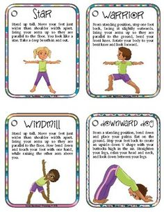 20 printable cards showing yoga positions for kids  it's