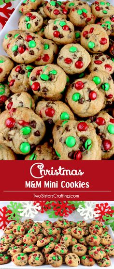 Christmas M&M Mini Cookies - These bite-sized Christmas Cookies are a fun take on a classic Chocolate Chip Cookie and look so Christmas-y with the Red & Green M&M's.  You'll family will beg for more of these small but delicious Christmas treats.  Follow us for more yummy Christmas Food Ideas.