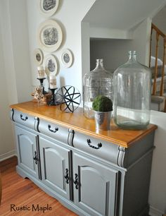 painted buffet Cobblestone Country Chic Paint CountryChicPaint grey paint natural wax furniture sideboard diningroom dining room farmhouse lakehouse