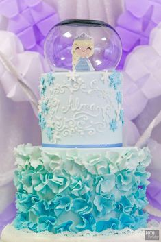 Gorgeous ombre ruffle cake at a Frozen birthday party! See more party ideas at CatchMyParty.com!
