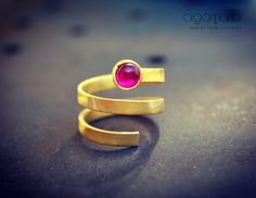 Ruby Ring Spiral Ring July Birthstone Gold Ring Healing Ring Statement Jewelry Minimal Ring Contemporary Jewelry Gift for Her Made in Greece