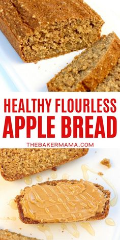 Healthy Flourless Fresh Apple Bread made without sacrificing flavor or texture. No flour needed, sweetened with honey, and loaded with fresh apples, it's quick to make and tastes so great! #applebread #flourlessbread Italian Bread Recipes, Recipes With Yeast, Healthy Bread Recipes, Healthy Sweets, Apple Recipes, Low Carb Recipes, Fall Recipes, Muffin Recipes, Healthy Food