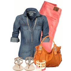 Salmon/Peach Skinny jeans & Chambray top