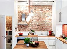 white kitchen with brick wall - Google Search