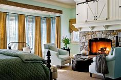 Bedroom Design, Farmhouse Bedroom With Traditional Bedroom Fireplace With Stone Fire Surround Material Also Light Blue Armchairs Color Also . Tv Over Fireplace, Bedroom Fireplace, Fireplace Design, Fireplace Ideas, Fireplace Stone, Fireplaces, Fireplace Trim, Fireplace Doors, Fireplace Cover