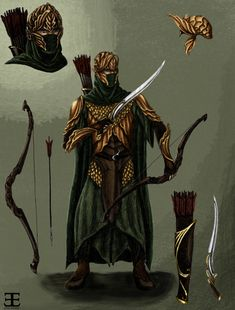 Mirkwood Elf Warrior Concept Art- colored by *Atohas