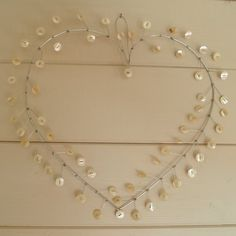 Mother of Pearl Button Heart Wreath