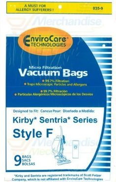 9 #kirby Vacuum  #Style F Bags   FITS  : Kirby Vacuums Made AFTER Jan. 2009, G10 G10D, Sentria Vacuums. using F Style Bag Dock  should be an F stamped  on the hos...