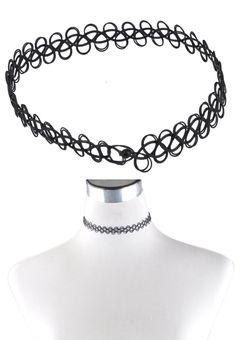 Tattoo Choke Bud Silk Necklace Bracelet Black Cord Retro Henna Elastic Boho 90s