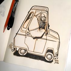 Inktober Drawing 7 - I found a rendering of this car and thought I'd turn it into a self portrait ;)  #inktober #inktober2016