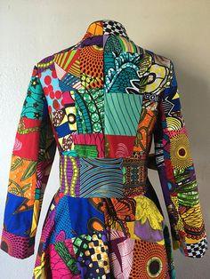Wax africain imprimé Patchwork étage longueur Manteau robe 100