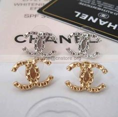 Quintessentially Chanel Double C Stud Earrings Gold Silver Ball Online