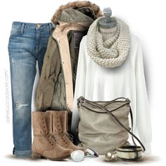 A fashion look from October 2013 featuring white top, brown coat and boyfriend jeans. Browse and shop related looks.