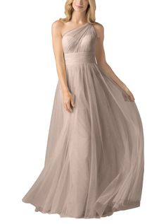 DescriptionWtoo by WattersStyle 858iFulllength bridesmaid dressIllusion one shouldernecklineBobbinet tulle