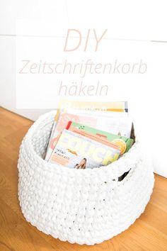 Anleitung für einen gehäkelten Zeitschriftenkorb aus Zpagetti Garn - Ordnung für…