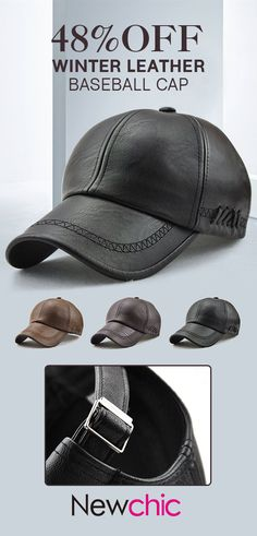 Men Lace-up PU Leather Baseball Caps Outdoor Winter Warm Dad Hat Adjustable  Cap is hot sale on Newchic. 7f635b54af1d