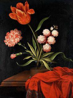 Johan Johnsen  Still Life with Flowers in a Glass Vase  17th century  Via: stilllifequickheart.
