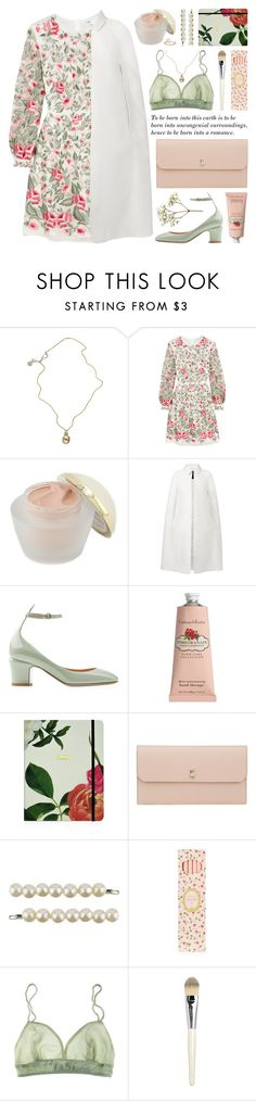"""""""embroidered dress"""" by jesuisunlapin on Polyvore featuring Jessica de Lotz Jewellery, Vilshenko, Elizabeth Arden, Burberry, Valentino, Crabtree & Evelyn, Kate Spade, Valextra, Forever 21 and Ladurée"""