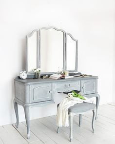 Custom Chalk Paint® decorative paint by Annie Sloan vanity dresser and mirror by Redesign by Agnieszka | Graphite, Old White, and Paris Grey