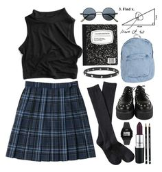 """Grunge School Girl"" by child-of-the-tropics ❤ liked on Polyvore featuring American Apparel, Casio, Xhilaration, Luis Morais, school, grunge and tartan"