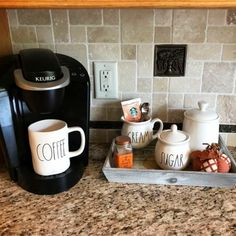 Coffee area in the kitchen? Love all these kitchen coffee area ideas coffeecanister Coffee Area, Coffee Nook, Coffee Corner, My Coffee, Coffee Wine, Kitchen Corner, Diy Kitchen, Kitchen Decor, Kitchen Ideas