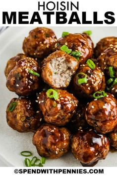 No need to get takeout with these unforgettably sweet & spicy Asian meatballs! Hoisin glazed meatballs taste great warmed up from frozen in the Crockpot, so these are an easy make-ahead meal for a potluck. #spendwithpennies #asianmeatballs #meatballs #entree #appetizer #sticky #easy #sauce #spicy #pork #baked #oven #sweetandspicy #homemade #asian Meatball Sauce, Meatball Recipes, Chicken Meatballs, Asian Meatballs, Hoisin Sauce, Great Appetizers, Frozen Chicken, Sweet And Spicy, Great Recipes