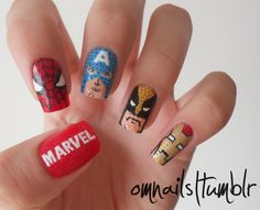 I LOVE Marvel Comics, and this hand painted Marvel Heroes Nail Art by Oh My Nails makes my geeky heart flutter. Love Nails, How To Do Nails, Fun Nails, Pretty Nails, Superhero Nails, Avengers Nails, Colorful Nail Art, Nail Arts, Girly Things