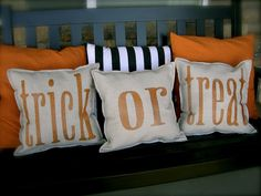 Trick or treat pillows!! want to do my new bench like this for Halloween!! and then can change the pillows for tgiving!