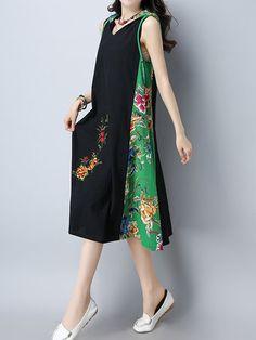 Vintage Women Patchwork Hooded Sleeveless Dresses