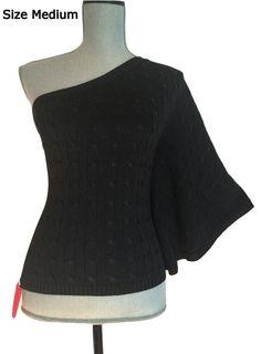 NWT Ralph Lauren Black Label One Shoulder Sweater Cable Knit Silk Knit Top M Med #RalphLauren #Kimono #Formal